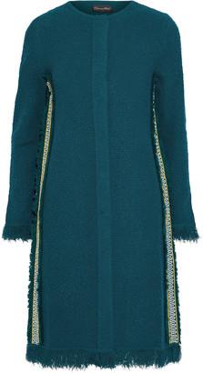 Oscar de la Renta Embroidered Grosgrain-trimmed Boucle-knit Coat