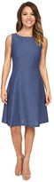 Tahari by Arthur S. Levine Petite Denim Seamed Fit and Flare Dress