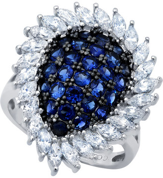 Crislu Midnight Platinum Over Silver Cz Ring