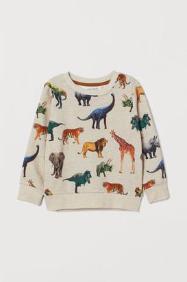 H&M Printed Sweatshirt - Beige