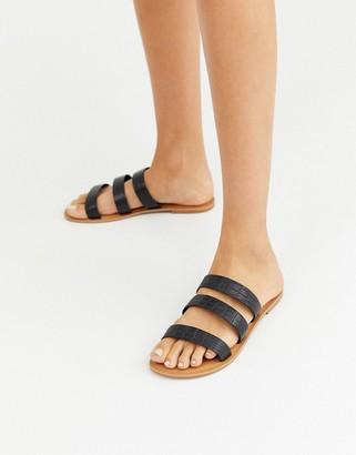 Asos DESIGN Farren leather flat sandals in black croc