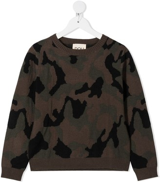 Douuod Kids Camouflage Rib-Trimmed Jumper