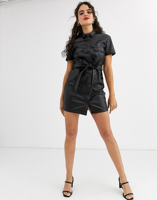 Stradivarius faux leather dress with tie waist in black