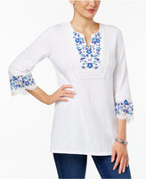 Charter Club Embroidered Lace Cotton Tunic, Only at Macy's