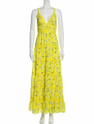 Alice + Olivia Floral Print Long Dress Yellow