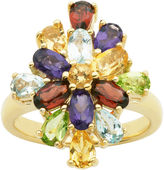JCPenney FINE JEWELRY Multi-Gemstone 18K Yellow Gold Over Sterling Silver Cluster Ring