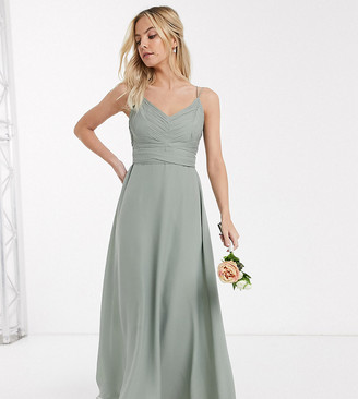 ASOS DESIGN Petite Bridesmaid cami maxi dress with ruched bodice and tie waist