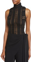 Cinq à Sept Clothing Antonia Sleeveless Turtleneck Lace Top, Black