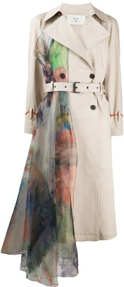 Quetsche Floral-Panel Trench Coat