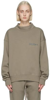 Essentials Taupe Mock Neck Logo Sweatshirt