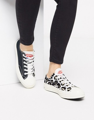 Converse Chuck '70 Lo black and flocked leopard print trainers