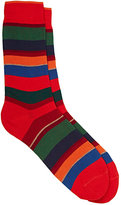 Barneys New York Men's Variegated-Stripe Cotton-Blend Mid-Calf Socks-RED