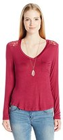 Self Esteem Women's V Neck Top with Front Pocket and Pink Stone Necklace