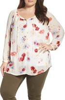 Lucky Brand Plus Size Women's Floral Print Peasant Blouse
