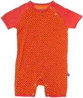 Kickee Pants Print Raglan Romper (Baby) - Sunset Geo Lattice-Preemie
