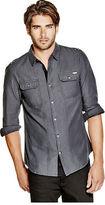 GUESS Men's Varius Military Slim-Fit Shirt