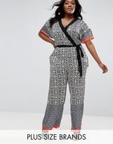 Elvi Plus Jumpsuit In Monochrome Print