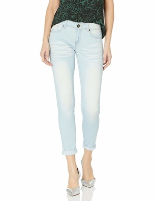 Cover Girl Women's Skinny Cuffed Stone Whisker Wash 29 Inseam