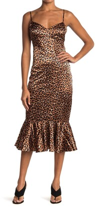 LIKELY Veosa Satin Leopard Ruffle Hem Midi Dress