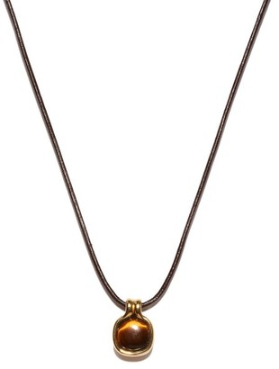 Fernando Jorge Cushioned Tiger's Eye & 18kt Gold Pendant Necklace - Yellow Gold