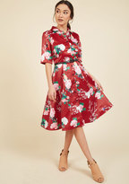 Respectfully Retro Midi Dress in Crimson Blossom in XS