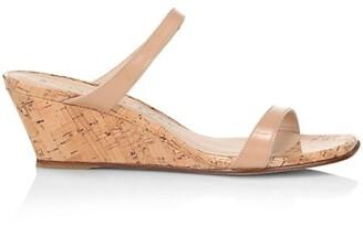 Stuart Weitzman Aleena Denim & Cork Wedge Slide Sandals