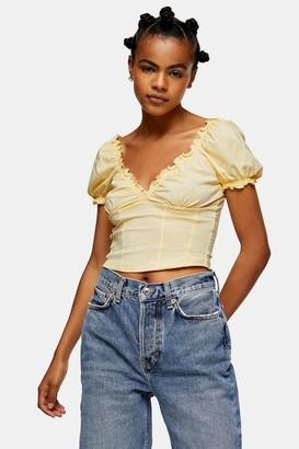 Topshop Womens Yellow Prairie Wrap Corset Top - Yellow