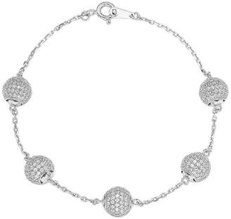 Suzy Levian Sterling Silver CZ Pave Ball Linked Bracelet