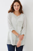 J. Jill Striped Button-Front Cotton Tunic
