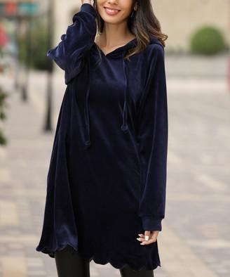 Z Avenue Women's Sweatshirts and Hoodies Navy - Navy Velvet Scallop-Hem Hoodie - Women & Plus