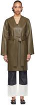 Loewe Khaki Leather Nappa Short Coat