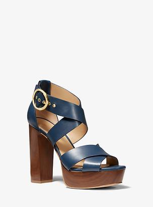Michael Kors Leia Leather Platform Sandal