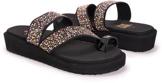 Muk Luks Women's Sandals Black - Black & Gold Embellished Strappy Callie Wedge Sandal - Women