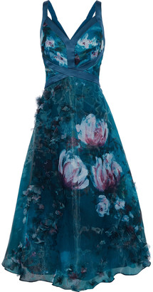 Marchesa Appliqued Floral-print Organza Midi Dress