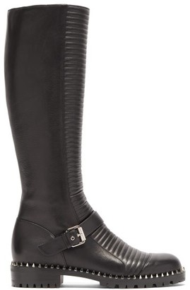 Christian Louboutin Meteorita Ribbed Leather Knee-high Biker Boots - Womens - Black