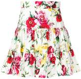 Dolce & Gabbana Rose Print Flare Mini Skirt