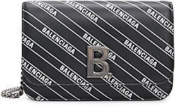Balenciaga Women's B Leather Wallet-On-Chain