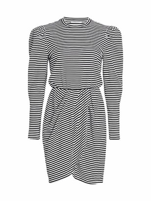 Derek Lam 10 Crosby Nyla Puff-Sleeve Stripe Cotton Dress