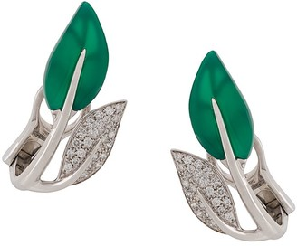 Mimi 18kt white gold Foglia leaf earrings