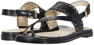 Cole Haan Anica Scallop Thong Sandal (Black Leather/Gold Studs) Women's Sandals