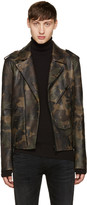Pyer Moss Green Camo Leather Jacket