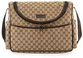 Gucci GG Canvas Leather-Trim Diaper Bag