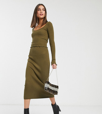 Asos DESIGN Tall co-ord knitted midi skirt with ruffle hem