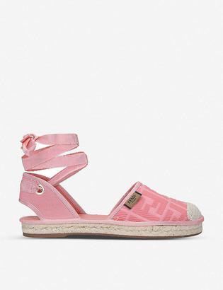 Fendi Roma lace-up canvas espadrille sandals