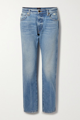 KHAITE Kyle Distressed Low-rise Straight-leg Jeans - Light denim
