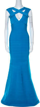 Herve Leger Turquoise Blue Stretch Knit Cathryn Bandage Gown XS