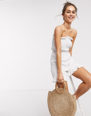 Influence cheesecloth beach playsuit in white