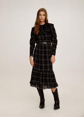 MANGO Ruffled printed dress black - XXS-XS - Women