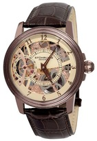 Stuhrling Original Men's Winchester Bridge Leather Strap Mechanical Watch