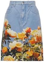 MSGM Floral-print Denim Mini Skirt